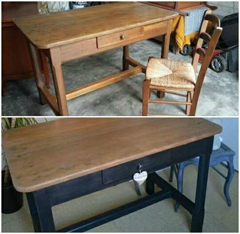 Table ancienne relookée noire