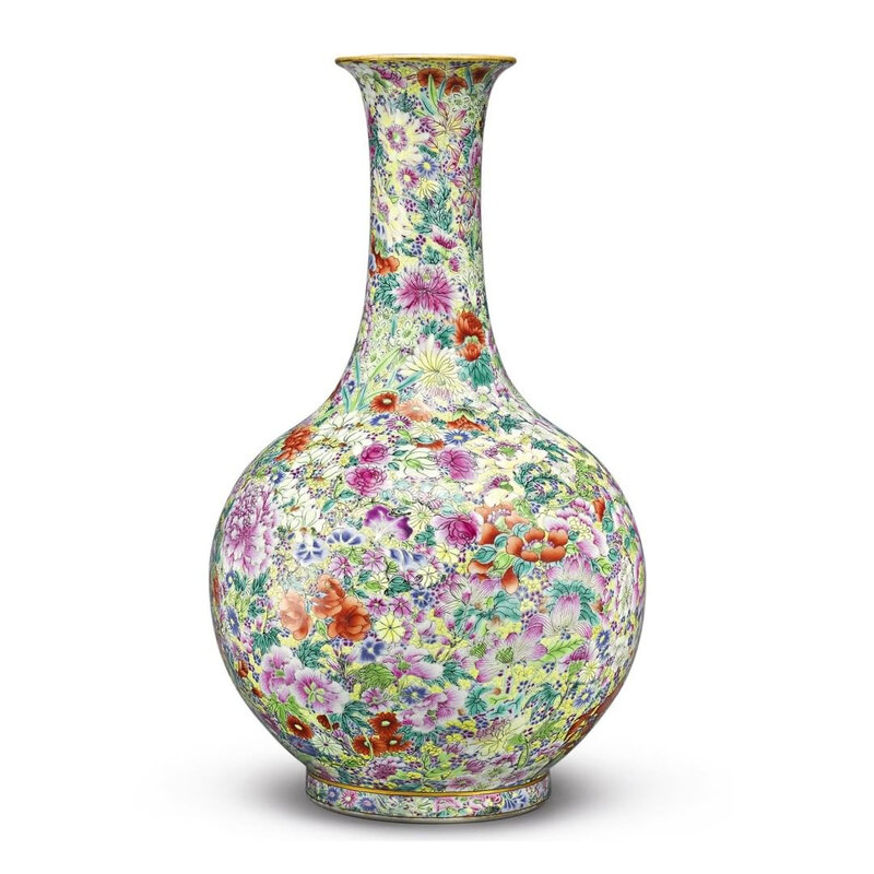 A fine and rare famille-rose 'Mille-fleurs' bottle vase, Jiaqing seal mark and period (1796-1820)