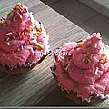 Cupcake cœur framboise <b>crème</b> mascarpone/ chocolat blanc
