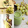Green <b>smoothie</b>, raisin, litchis