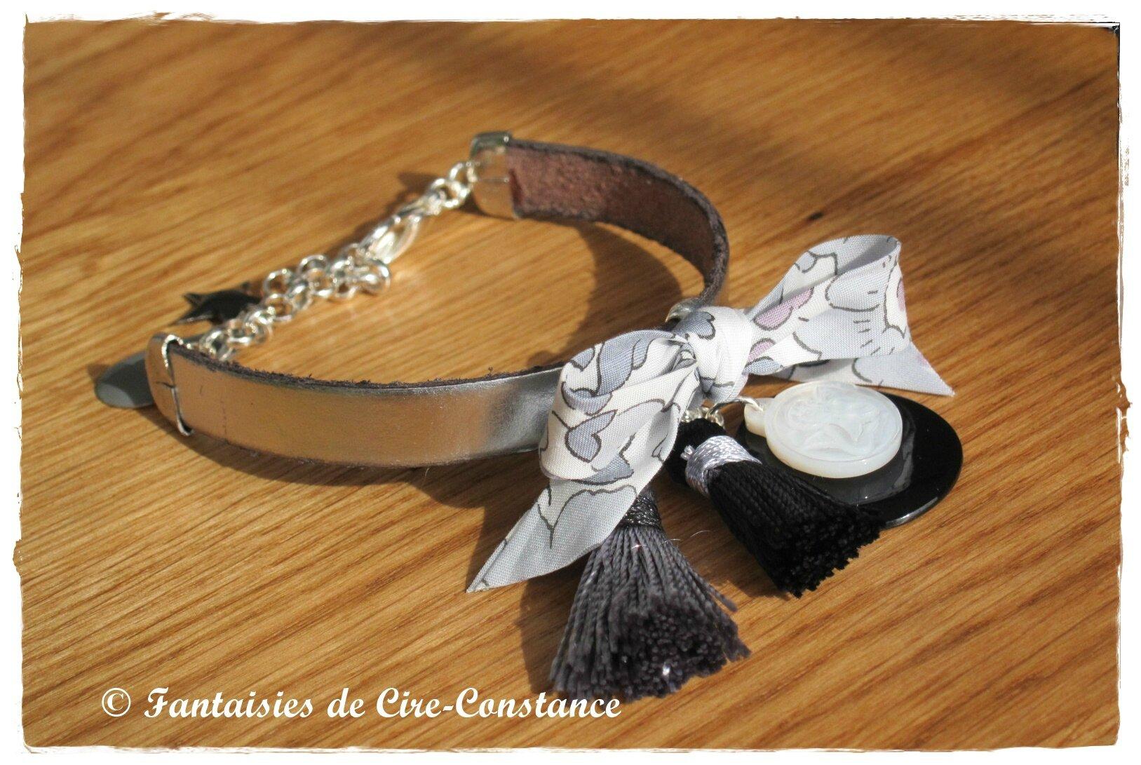 Bracelet Diane gris noir