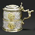 A <b>German</b> <b>parcel</b>-<b>gilt</b> <b>silver</b> tankard, makers mark double struck IM..H, Nuremberg, probably 1547-49