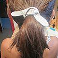 Atelier leroy merlin : petits essais en cuir (lacet pour cheveux, marque page et coudières sympas !)