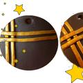 pendentif chocolat et doré