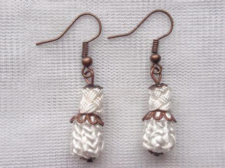 Boucles d'oreilles en cuivre et perles fait main