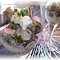 Verrine d'agneau aux radis et <b>raifort</b> d'Alsace