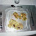 Roulés de poulet au pesto, écrasé de pommes de terre aux olives
