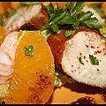 Salade de poulet mariné, langoustines & orange d'après cyril lignac