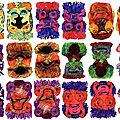 Masques réversibles ( aquarelles 2008)