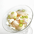 Sorbet jus de kimchi blanc carpaccio St Jacques