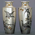 Tsukada shukyo, pair of vases, japan, circa 1910