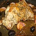 ...shoulder of lamb with garlic, thyme, olives and rosé wine... (nigella kitchen)