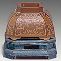 A rare small <b>bamboo</b> <b>veneer</b> faceted water pot, 18th century