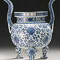 A large Ming-style blue and white 'lotus' censer, Qing dynasty, <b>Qianlong</b> <b>period</b> (<b>1736</b>-<b>1795</b>)