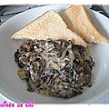 Croûte au champignon de paris à la crème