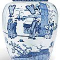 A large blue and white ovoid jar, Qing dynasty, <b>Shunzhi</b>-<b>early</b> <b>Kangxi</b> <b>period</b>