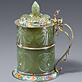 A courtly carved jade tankard, Augsburg, circa 1660 – <b>1670</b>. Jade carving attributed to Johann Daniel Mayer
