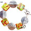 BRA088 - Bracelet spirales <b>ethniques</b> en argile polymère colorée et perles en métal