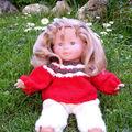 pull jacquard et pantalon pour poupée corolle 36 cm : Vanille,