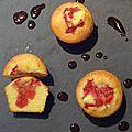 Muffin au beurre salé, coeur de fraise