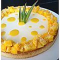 Tarte façon panna cotta au lait de coco & compotée mangue-ananas