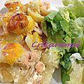 Gratin de pommes de terre et saumon au cheddar
