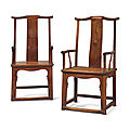 A pair ofhuanghuali'Four-corners-<b>exposed</b> official's hat' armchairs,sichutouguanmaoyi, 17th-18th century
