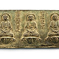 An inscribed bronze votive plaque of the <b>five</b> Tathagatas, Early Ming dynasty