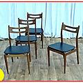 4 chaises déco scandinave teck 1960
