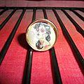 Support bague réglable argenté, cabochon en verre de 18 mm et image digitale : femme maquillée pour la fête des morts