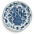 A blue and white '<b>flower</b> basket' dish, Wanli mark and period (1573-1619)