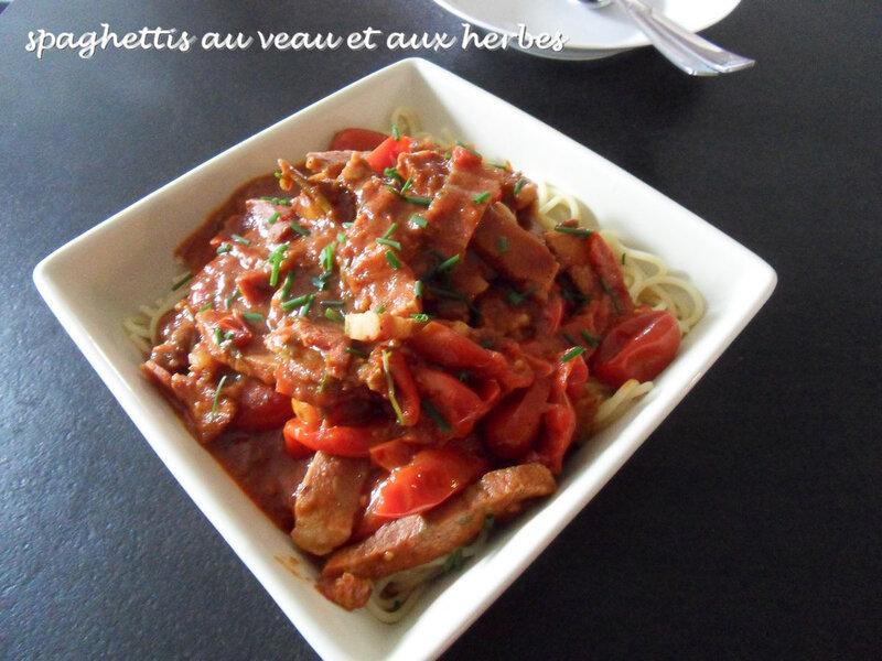 spaghettis au veau et aux herbes