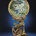 An Exceptionally Rare Imperial Cloisonne Enamel <b>And</b> Gilt-Bronze Circular Plaque <b>And</b> Stand. <b>Qianlong</b> <b>Incised</b> <b>Four</b>-<b>Character</b> <b>Mark</b>