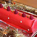 Bûche de noël : bavarois framboise,insert de mousse au nougat, financier pistache et glaçage miroir rouge