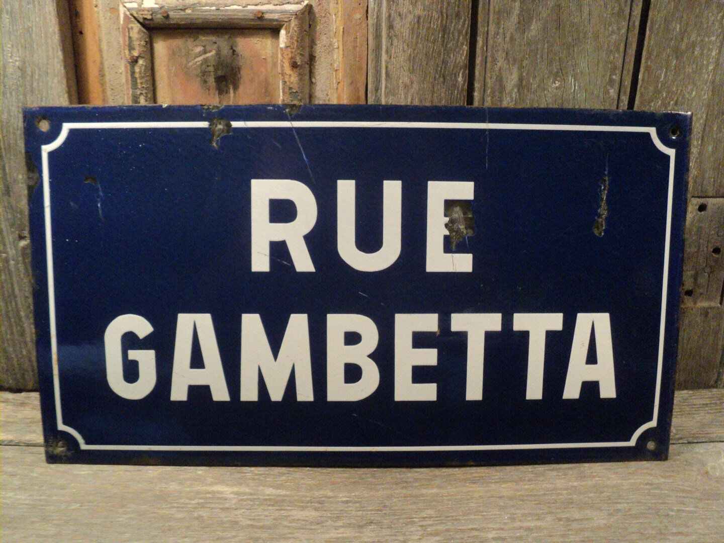 ancienne plaque de rue maill e rue gambetta enameled street sign virtual broc. Black Bedroom Furniture Sets. Home Design Ideas