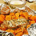 Saumon et <b>patate</b> douce en papillote, sauce crème fraîche au citron