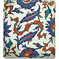 An Iznik polychrome pottery tile with chinoiserie and saz leaves, Turkey, circa 1580