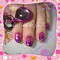 nail art rose dégradé violet