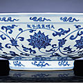 A fine and rare early Ming blue and white <b>fruit</b> <b>bowl</b>, Xuande six-character mark in a line and of the period (1426-1435)