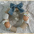 Déco de pâques jute-jean-papier jauni : faire une couronne avec des rouleaux en carton