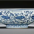 A blue and white '<b>lingzhi</b>' fruit bowl. Xuande Mark and period