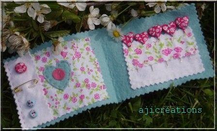 Carnet couture coeurs fleurettes Marimerveille