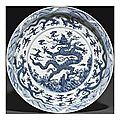A massive <b>Ming</b>-<b>style</b> <b>blue</b> <b>and</b> <b>white</b> 'dragon' charger. 18th-19th century