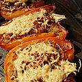 Poivrons farcis-gratinés au quinoa et poulet
