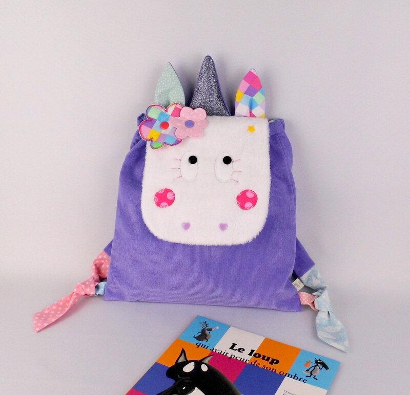 Sac à dos licorne personnalisable prénom rose mauve sac enfant école maternelle cartable licorne cadeau anniversaire fille unicorn backpack personalized name