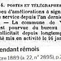1889 mercredi 16 janvier: ouverture du bureau de poste