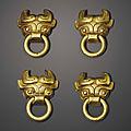 A set of four miniature gold <b>mask</b>-form handles, Eastern Zhou dynasty (770-256 BC)