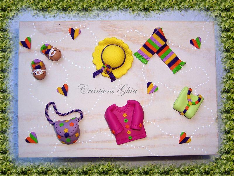 Boîte en bois, décorations en pâte polymère CERNIT