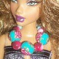 Barbie + collier turquoise rose
