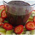 Carpaccio de fruits avec sauce au chocolat épicé -carpacio de frutas con salsa de chocolate especiada